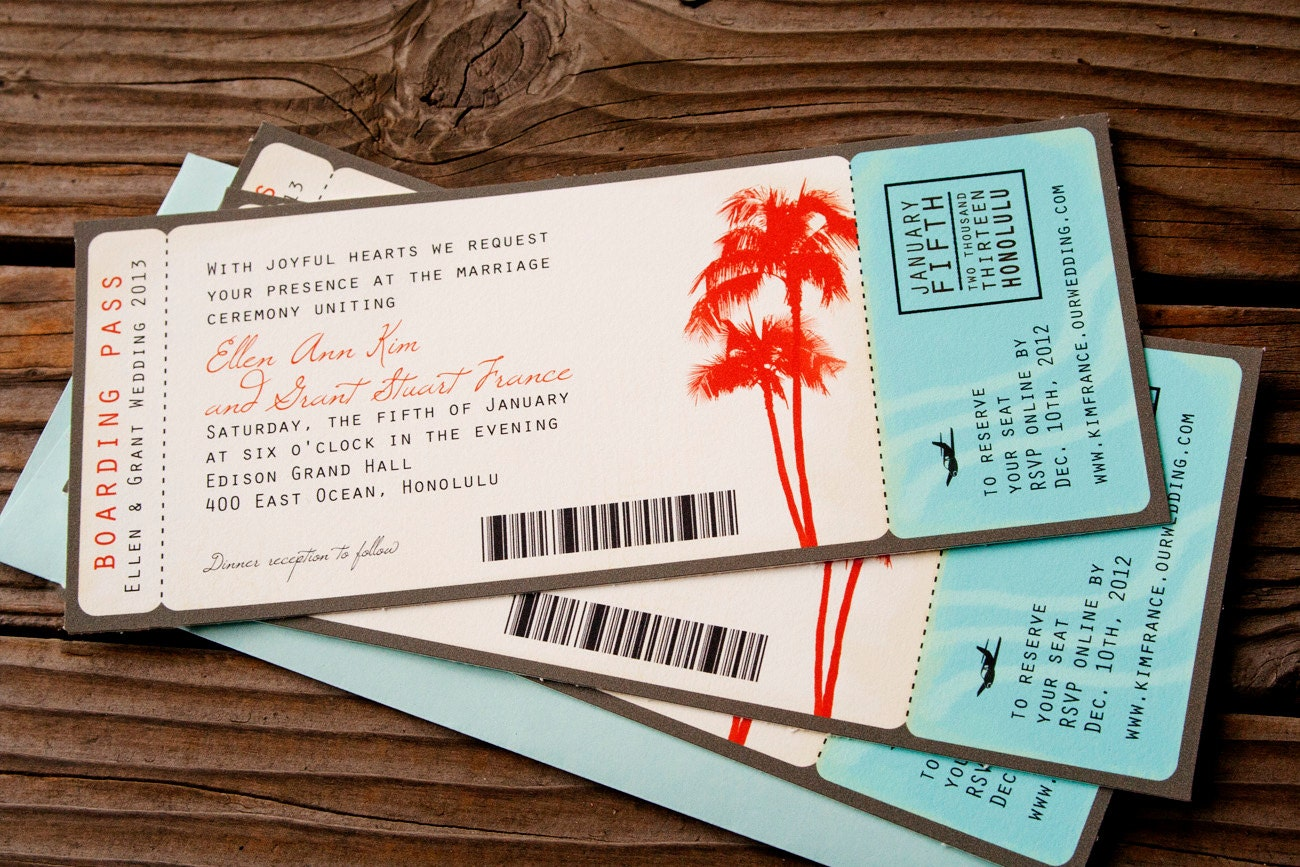 Boarding Pass Wedding Invitations Palm Tree Theme by mavora