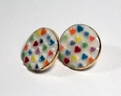 Hearts Earrings Colorful Handmade Porcelain Ceramic Jewelry