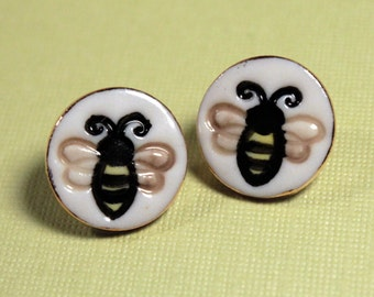 Bumble Bee Earrings Handmade Porcelain Ceramic Jewelry