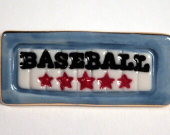 Baseball Brooch Handmade Porcelain Ceramic Jewelry