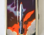 Soviet propaganda Cigarette Case Wallet Business Card Holder  rocket ship russian russia outer space sci-fi