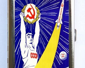Soviet space propaganda Cigarette Case Wallet Business Card Holder russian russia outer space sci-fi