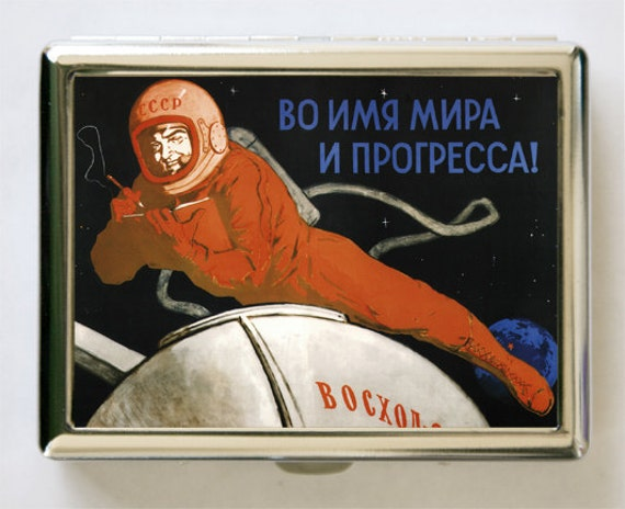 Soviet Astronaut space propaganda Cigarette Case Wallet Business Card Holder russian russia outer space sci-fi