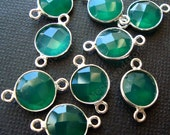 4 pcs 8mm Green Onyx Bezel Gemstone Wrapped Connector Sterling Silver F391S