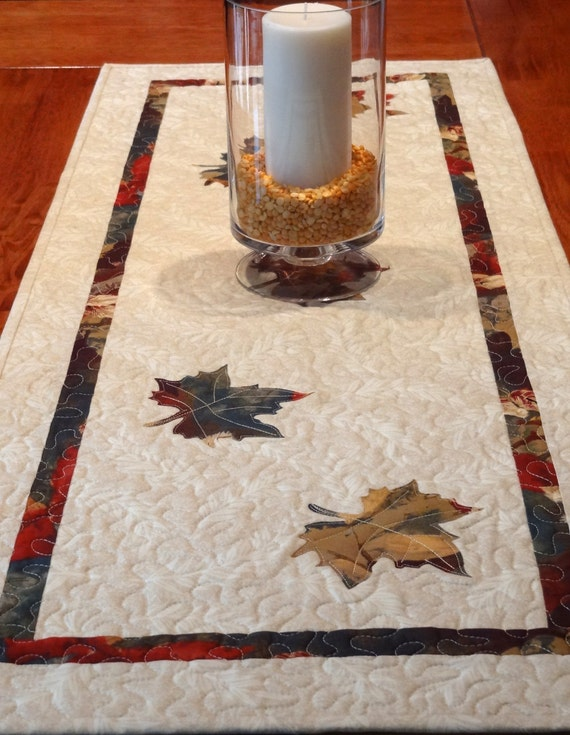 Fall Leaves Quilted Table Runner - 17.5 inches x 47 inches