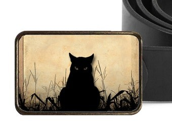 Black Cat Buckle Halloween Buckle Cat Belt Buckle