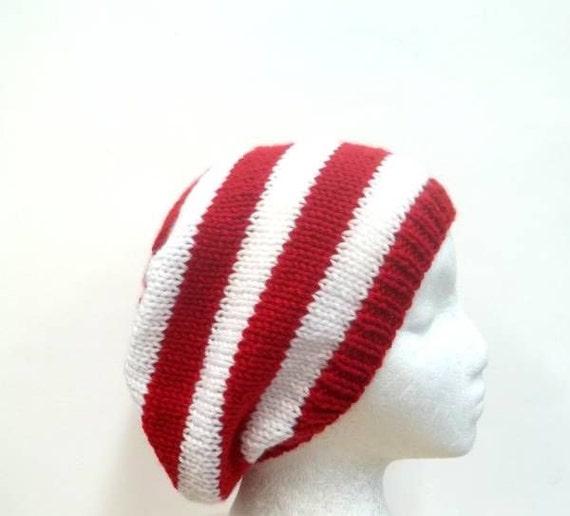 Red White Stripe Beanie Slouch hat knit size medium   4572