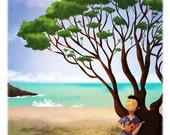 """Ukulele Art, Island Boy, Hawaiian Art, Hawaii Print, Musician, Wall Decor- """"Ukulele Song"""""""