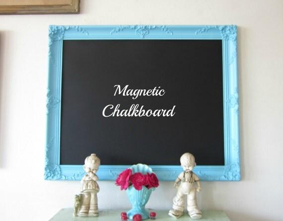 Chalkboard, Magnetic Chalkboard, Memo Board, Large Ornate Vintage Frame AQUA 25 x 31