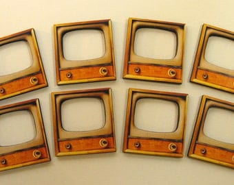 Collection of 8 Wooden Vintage TVs - Laser Cut Wood Art Parts - Mini TV Picture Frame