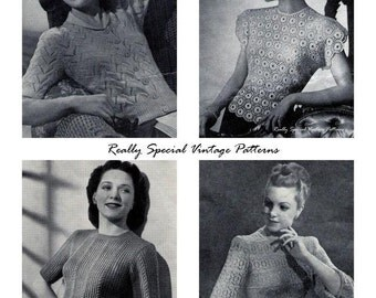 Vintage Lacy Jumpers Knitting and Crochet Pattern Book Weldons 1940's pdf e-book
