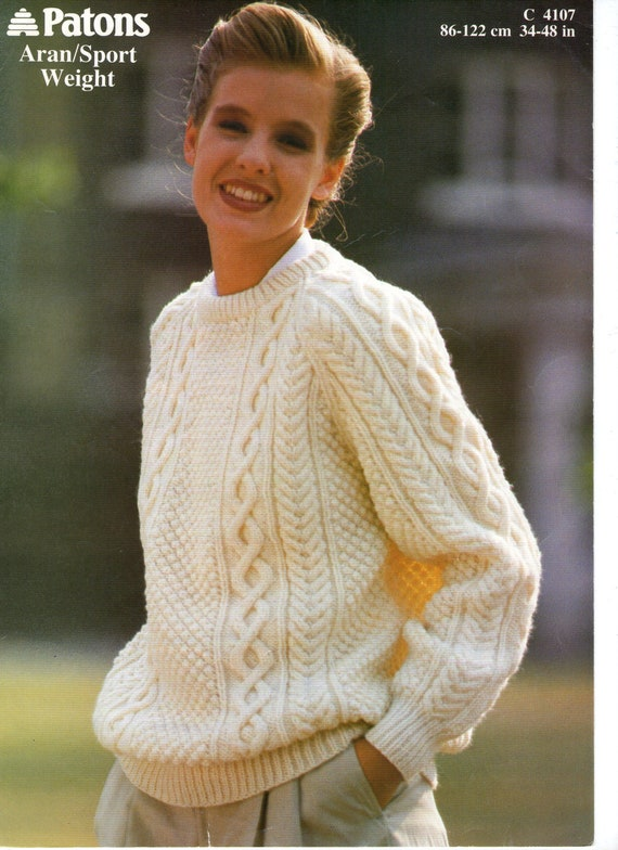 Vintage Aran Cardigan Knitting Pattern : Classic Aran Sweater Vintage Knitting Pattern an Original