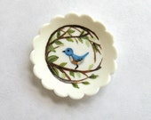 Miniature Bluebird and Branches Handpainted Dish OOAK by C.Rohal