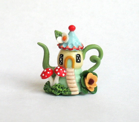 Miniature Cottage on Hill with Toadstools Teapot OOAK by C. Rohal