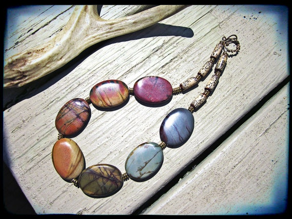 Picasso jasper necklace, Colorful rainbow gemstone Raw brass findings Big chunky statement piece - Fruity Pebbles