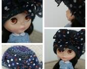 bow pomp cloche in dark/multi polka dots