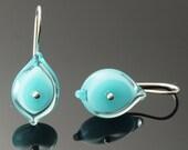 Glass Leaf Earrings in Aqua - New