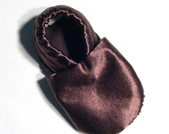 Brown Satin Soft Soled Baby Shoes 18-24mo