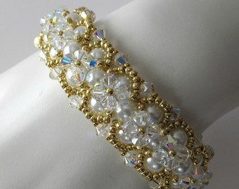 Crystal and white pearl cuff bracelet beadweaving gold bracelet bridal bracelet beadwork beaded jewelry