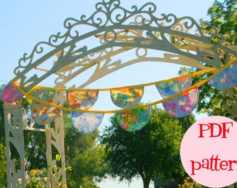 Little Bird Lane Palace Pennant Banner Bunting Instant Download PDF Pattern Tutorial For 3 Three  Fabric Flag Bunting
