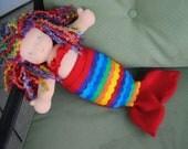 Felt Mermaid Costume -15in Waldorf dolls - Doll Clothes