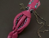 Squid Necklace in raspberry and teal