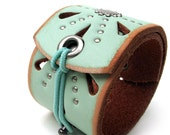 Studded Seafoam Leather Wrap Cuff Bracelet with Elastic Closure, Reversible, EcoFriendly, Womens Accessories