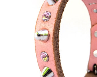 Leather Dog Collar in Pale Pink with Sparkles and Spikes, Size M, to fit a 14-17in Neck, EcoFriendly