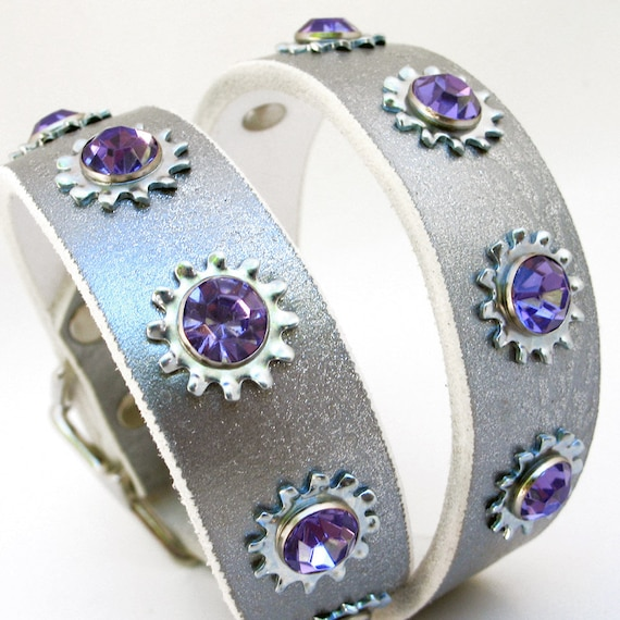 Leather Dog Collar in Shimmering Metallic Silver with Industrial Purple Crystal Flowers, Size M/L, 17-20 Neck, EcoFriendly, Unique, OOAK