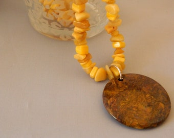 Yellow Jade and Shell Chip Necklace with Brown Pietersite Pendant