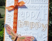 Modern   Birthday Card with Tangerine Butterfly on Embossed Cardstock