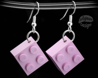 Dangle Drop Pink Earrings - made with LEGO bricks