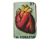 "EL CORAZON ""The Heart""  Mexican Loteria Makeup Bag - School Supply Pouch"