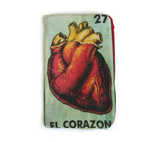 "EL CORAZON ""The Heart""  Mexican Loteria Makeup Bag - Pencil Pouch"