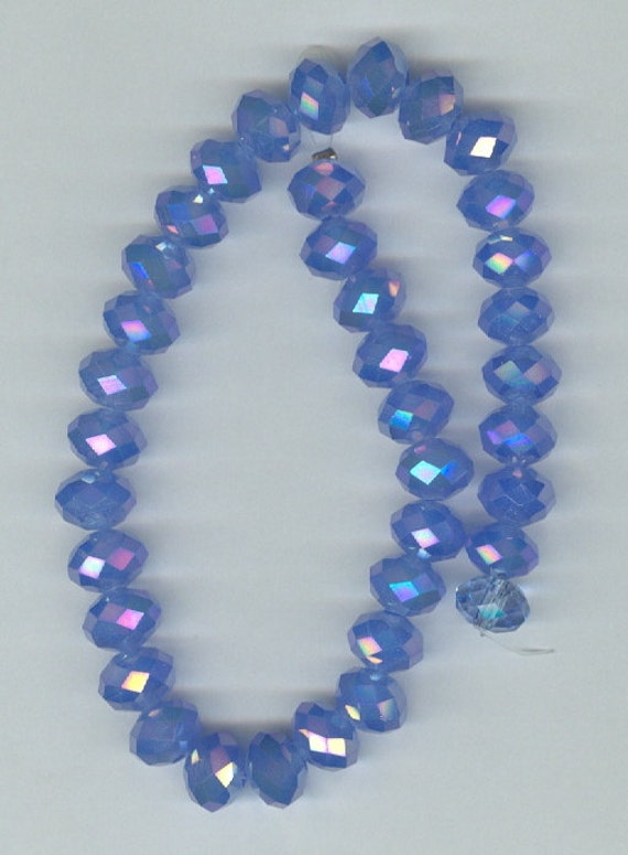 Sky Blue Blue AB Faceted Crystal Rondelle Beads Half Strand