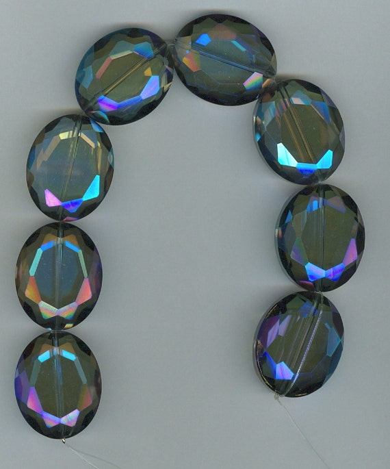 24x30mm Chinese Crystal Designer Faceted Oval Blue Beads 8 Beads