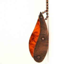 Oxidized Copper and Tortoise Resin Riveted Pendant Neckwear - Fortuity
