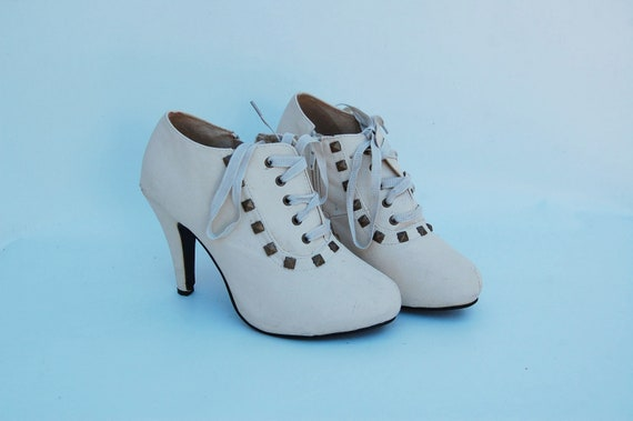 steampunk lace up STUDS ankle booties 7