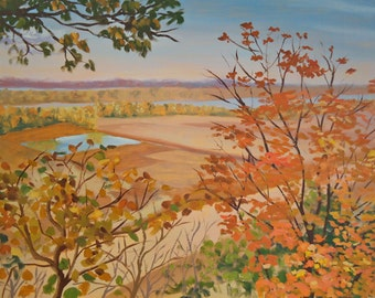"Original Oil Painting ""Pere Marquette Fields""  fall autumn landscape impressionism impressionist art"