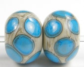 Fossil Handmade Lampwork Glass Bead Pair with Blue Dots SRA