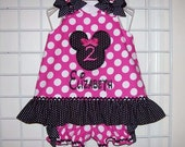 Hot Pink Dot Minnie Mouse Number Applique and Monogram Black and White Dot Ruffle Top Bloomers - birthday party dress - vacation outfit