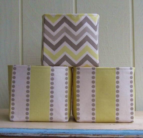 Fabric Storage Bins Yellow Gray Off White Taupe Chevron By
