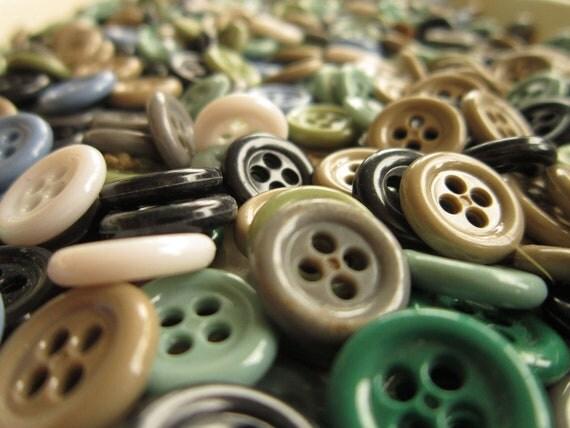 Plastic Shirt Buttons - Camo color mix - Bulk