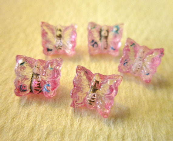Vintage Glass Buttons - Wee Pink Butterflies
