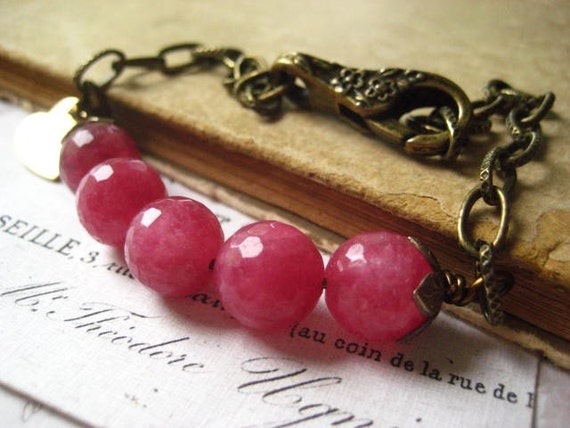 ruby jade bracelet brass floral clasp faceted 10mm jade beads Vintaj beadcaps heart charm dangle womens jewelry under 50