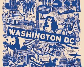 Washington DC Silk Screen City Art Print Poster - Etsy