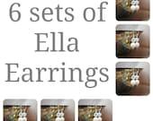 6 sets of Bridesmaids Earrings, Six Swarovski Pearl Rhinestone Ball Drop Earrings, Bridal Party Gifts, Wedding Earrings, Bridal Earrings