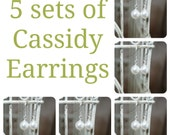 5 Sets of Cassidy Pearl Bridal Earrings, Five Sets of Bridesmaids Pearl Earrings, Wedding Earrings, Bridal Earrings, Bridal Gifts
