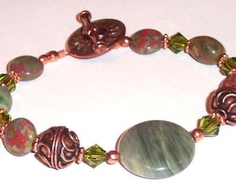 AUTUMN GLORY Gemstone Agate Rhyolite Crystal Copper Bracelet BHV