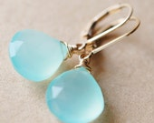 CUSTOM 14K SOLID GOLD Aqua Chalcedony Earrings, Wire Wrapped Gemstones on Leverbacks, Tidal Pool